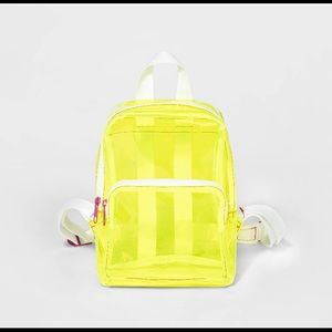 Neon yellow clear mini backpack